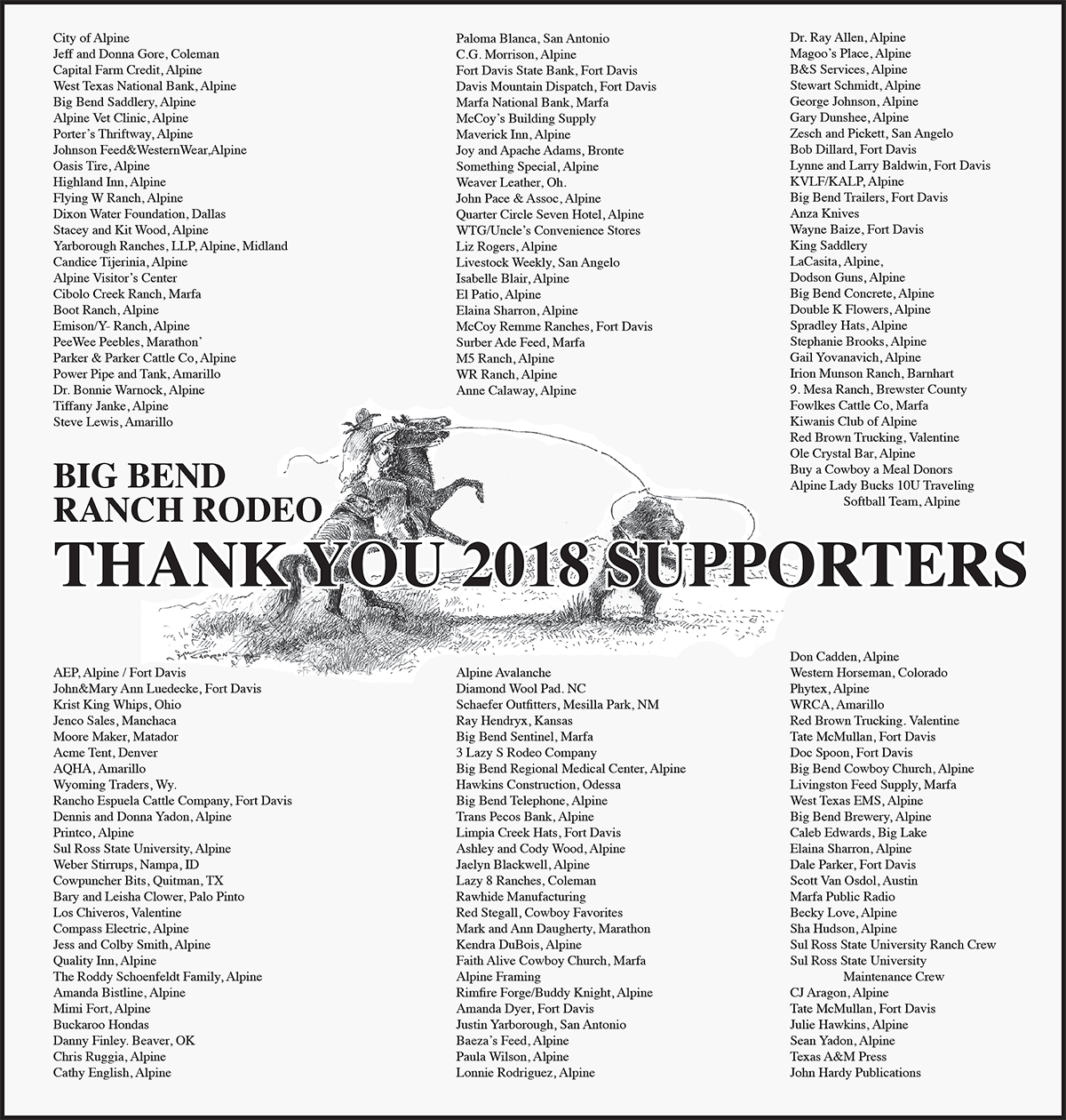 Big Bend Ranch Rodeo Thanks Their 2018 Supporters